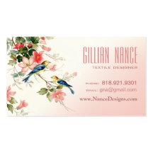 Rodna rosa vit för vintagelove birds | visitkort mallar