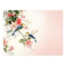 Rodna rosa vit för vintagelove birds | vykort
