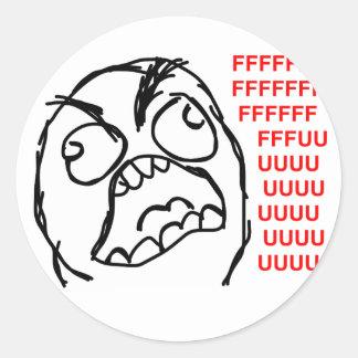 rofl för lol för meme för ursinneansikteursinne runda klistermärken