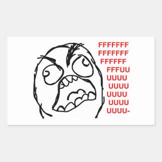 rofl för lol för meme för ursinneansikteursinne rektangulärt klistermärke