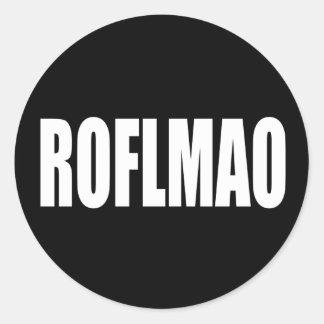 ROFLMAO-vit på svart Runt Klistermärke
