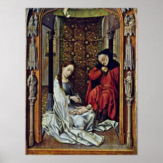 Rogier skåpbil der Weyden - födelse av Kristus Poster