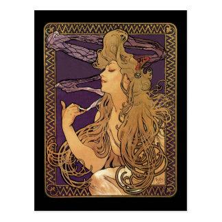 Röka - Alphonse Mucha elegantt kvinnakonstverk Vykort