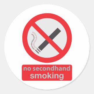 röka inte secondhand 003 runt klistermärke
