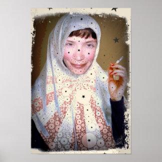 Röka nunnakanvastrycket poster