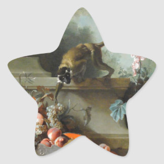 Rokokomålning för året av apan stjärnformat klistermärke