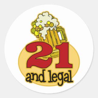 Rolig 21st födelsedaggåva runda klistermärken