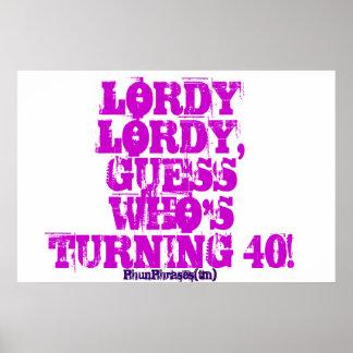 Rolig 40th vuxen födelsedagaffisch poster