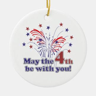 Rolig 4th av den Juli gåvan Julgransprydnad Keramik
