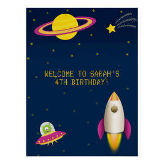 Rolig affisch för rymdenraketfödelsedag poster