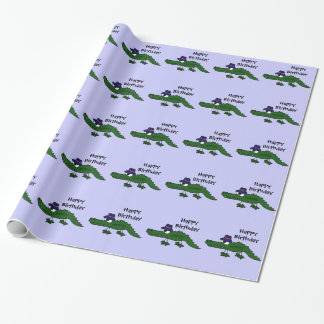 Rolig alligatorgrattis på födelsedagen Giftwrap Presentpapper
