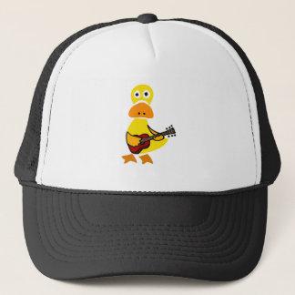 Rolig anka som leker gitarrurinnevånarekonst truckerkeps