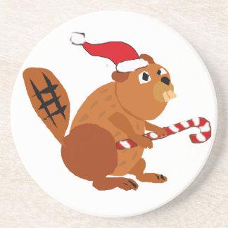 Rolig bäver i konst för Santa hattjul Underlägg Sandsten