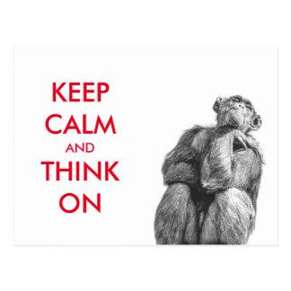 Rolig behållalugn och tänka på schimpans vykort