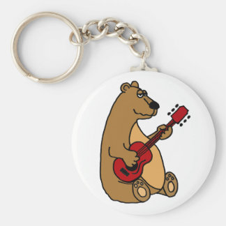 Rolig björn som leker gitarren Keychain Rund Nyckelring