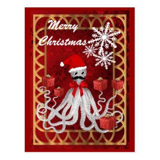 Rolig bläckfisk för jul för Santa vintagesteampunk Vykort