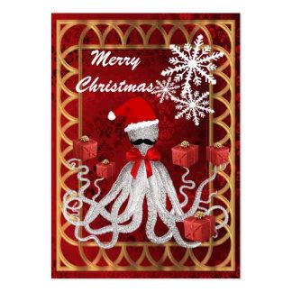 Rolig bläckfisk för steampunk för julSanta vintage Set Av Breda Visitkort