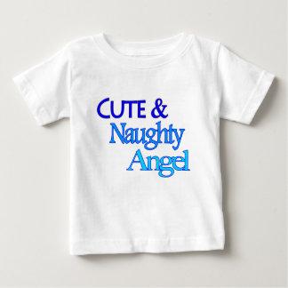 Rolig blåttdesign för gullig stygg ängel tshirts