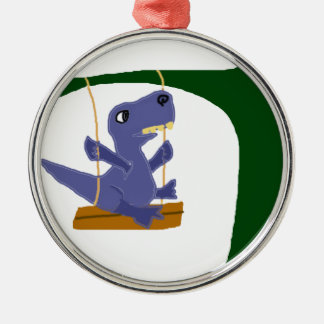 Rolig blåttT-Rex Dinosaur på gunga Julgransprydnad Metall