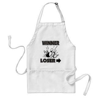 Rolig bowlingvinnareförlorare förkläde