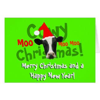 Rolig Cowy julSanta ko Hälsningskort