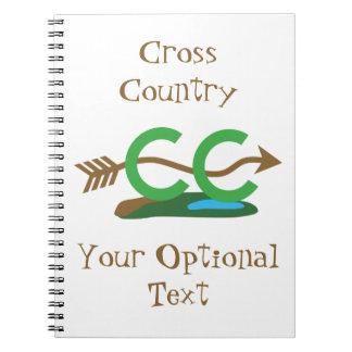 Rolig cross country rinnande bergig pil anteckningsbok med spiral