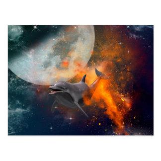 Rolig delfin i universum vykort