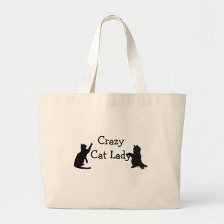 Rolig djur konst för galen kattdam jumbo tygkasse