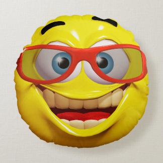 Rolig emoticon för smiley 3d rund kudde