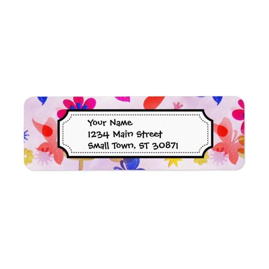 Rolig färgrik vår för blommafjärilsfåglar returadress etikett