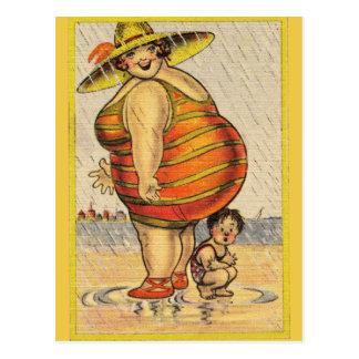 Rolig fet dam på strand vykort