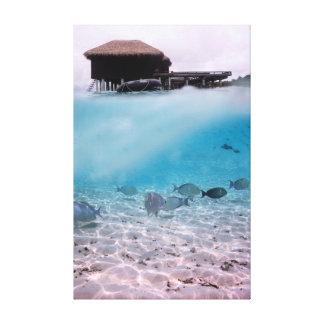 Rolig fisk för Maldiverna Snorkeling äventyrkorall Canvastryck