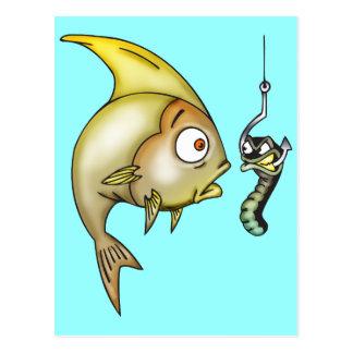 Rolig fisk och mask vykort