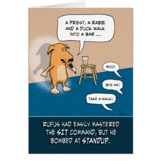 Rolig födelsedag: Hund för Standup tecknad Hälsningskort