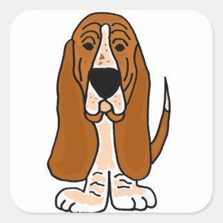 Rolig för hundoriginal för Basset TU konst Fyrkantigt Klistermärke