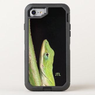 Rolig förtjusande grön Anole ödla OtterBox Defender iPhone 7 Skal