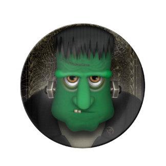Rolig Frankenstein Halloween dräkt Porslinstallrik