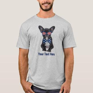 Rolig fransk bulldogg 4th av den Juli USA Tee Shirt