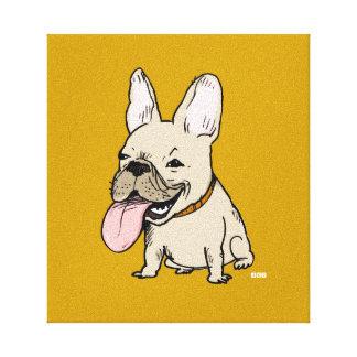 Rolig fransk bulldogg med den enorma tungan som ut canvastryck