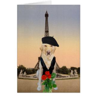 Rolig fransk hund-/labbvalentin hälsningskort