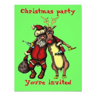 Rolig full Santa och Rudolph julkort 10,8 X 14 Cm Inbjudningskort