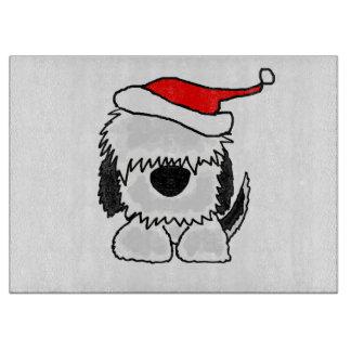 Rolig gammal engelsk Sheepdog i Santa hattjul