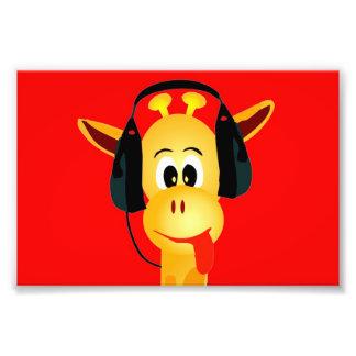 rolig giraff med komisk stil för hörlurar fototryck