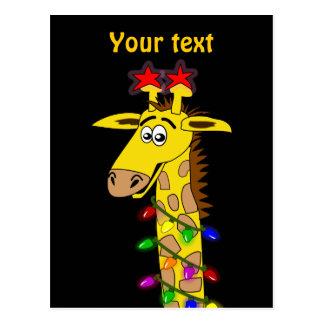 Rolig giraff med nyckfull jul för ljus