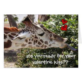 Rolig giraff, redo för din VALENTINkyss?? Hälsningskort