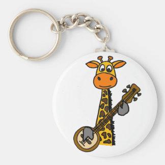 Rolig giraff som leker Banjokonst Rund Nyckelring
