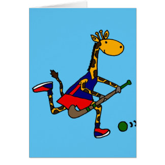 Rolig giraff som leker landhockey hälsningskort