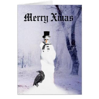 Rolig gotisk snögubbejul hälsningskort