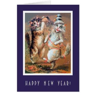 Rolig gott nytt år som festar kattkortet hälsningskort