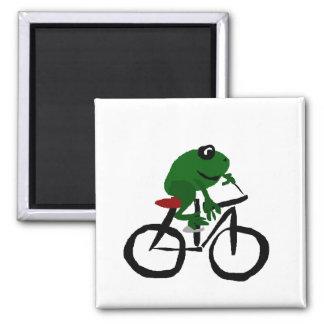 Rolig grön groda som rider en cykel magnet